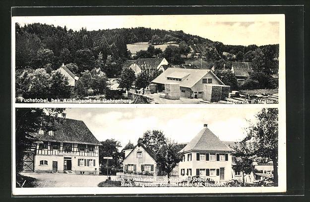 AK Deggenhausertal, Sägewerk H. Magino, Gasthof z. Fuchstobel, Spezereihdl. Hess, Kolonialwaren Heudorf