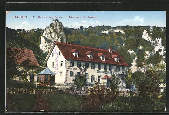 AK Hausen i.T., Totalansicht Gasthof und Pension z. Adler