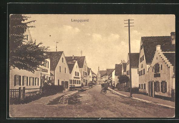 AK Langquaid, Ortspartie mit Wohnhäusern