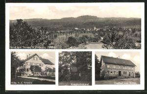 AK Tannau / Wttbg., Gasthaus zum Kreuz, Handlung von J. Schmid, Kriegerdenkmal