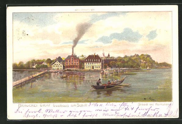 Lithographie Staad, Blick auf die Brauerei Graf, Gasthaus zum Schiff