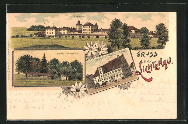 Lithographie Lichtenau, Strafanstalt, Hauffs Sommerkeller, Brauerei u. Wirtschaft v. K. Hauff
