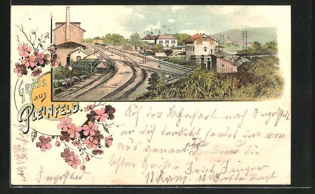 Lithographie Pleinfeld, Ortspartie mit Bahnhof
