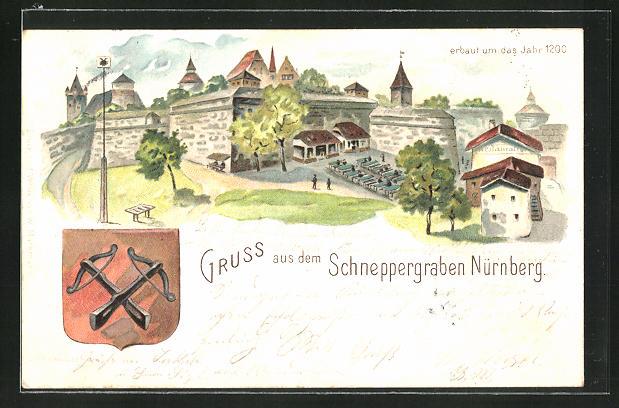 Lithographie Nürnberg, Schneppergraben, erbaut um das Jahr 1200, Wappen
