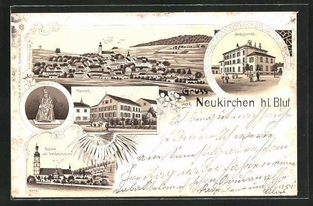 Lithographie Neukirchen hl. Blut, Ortsansicht, Amtsgericht, Pfarrhof