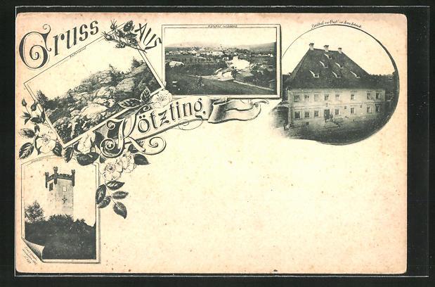 AK Kötzting, Gasthof zur Post, Ludwigsthurm, Keitersberg