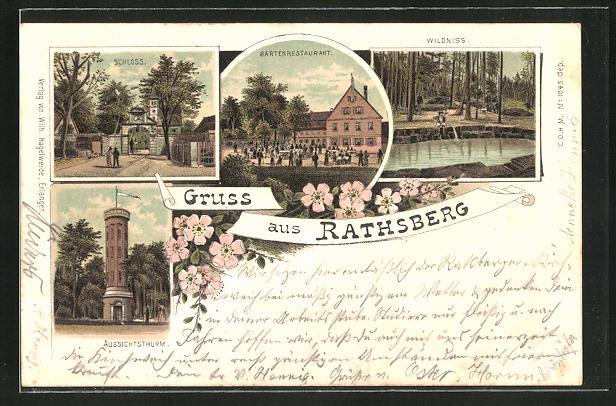 Lithographie Rathsberg, Aussichtsthurm, Schloss, Gartenrestaurant