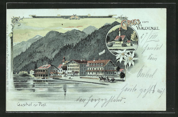 Lithographie Walchensee, Kirche, Gasthof zur Post