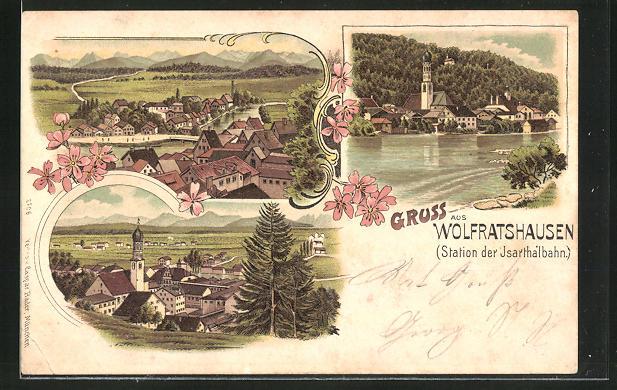 Lithographie Wolfratshausen, Ortsansichten