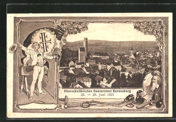 AK Ravensburg, Gauturnfest 1921, Ortsansicht, Turnvater Jahn