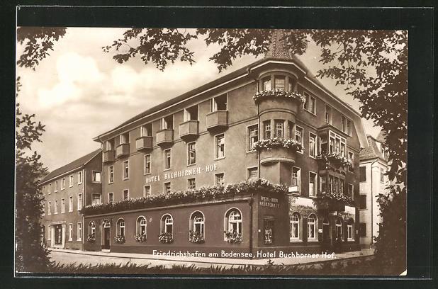 AK Friedrichshafen am Bodensee, Partie am Hotel Buchhorner Hof