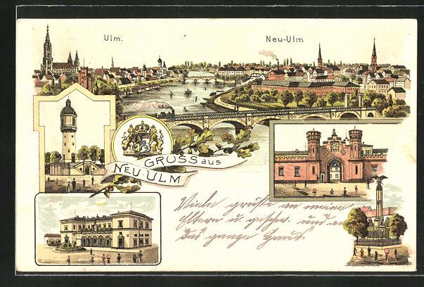 AK Neu-Ulm, Ortsansicht mit Ulm, Denkmal, Tor