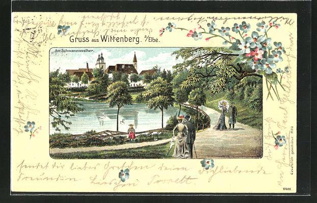 Passepartout-Lithographie Wittenberg / Elbe, Partie am Schwanenweiher