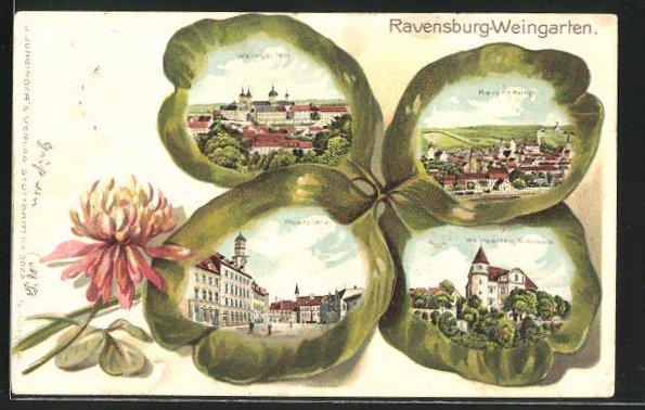 Passepartout-Präge-Lithographie Ravensburg-Weingarten, Kleeblatt mit Postplatz, Teilansicht, Weingarten