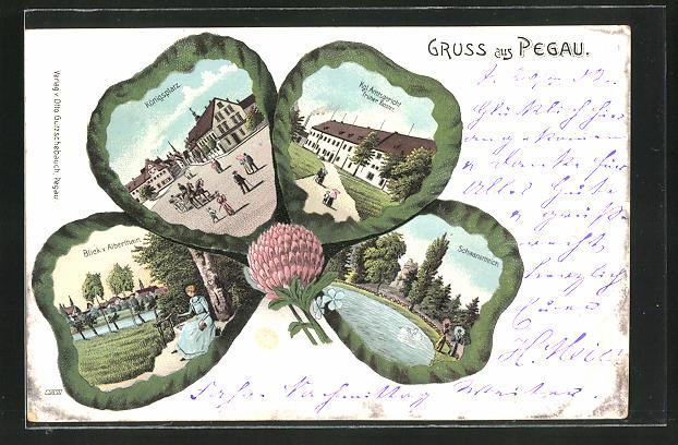 Passepartout-Lithographie Pegau, Kleeblatt mit Königsplatz, Schwanenteich, Blick v. Alberthain