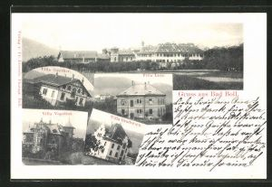 AK Bad Boll, Hotel-Pensionen Villa Günther, Villa Vopelius, Villa Broderssen, Villa Lutz