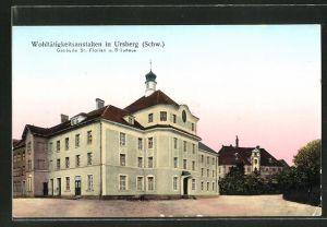 Goldfenster-AK Ursberg / Schw., Partie an den Wohltätigkeitsanstalten