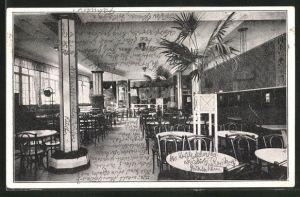 AK Würzburg, Central-Cafe, Innenansicht