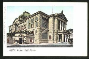 Goldfenster-AK Halle a. S., Partie am Stadt-Theater