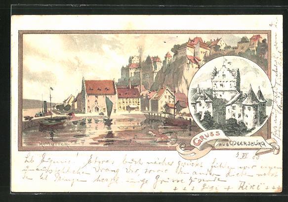Künstler-Lithographie Karl Mutter: Meersburg, Teilansicht, Burg