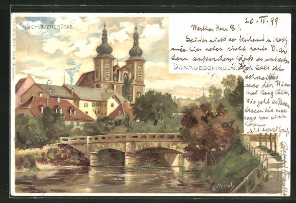 Künstler-AK Carl Münch: Donaueschingen, Blick auf die Schützenbrücke