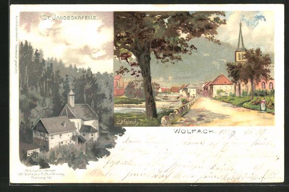 Künstler-AK Carl Münch: Wolfach, Ortspartie, St. Jakobskapelle