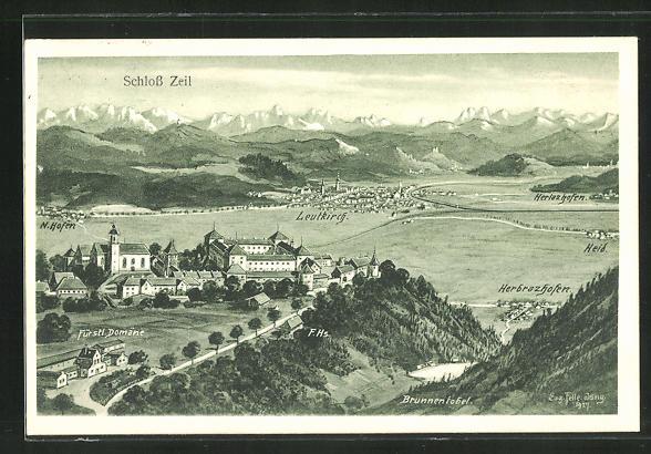 Künstler-AK Eugen Felle: Leutkirch, Schloss Zeil mit Fürstl. Domäne und Herlazhofen