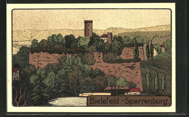 Steindruck-AK Bielefeld, Partie an der Sparrenburg