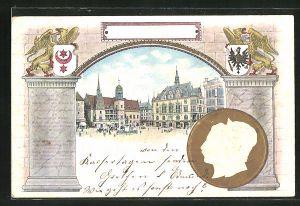 Präge-Lithographie Halle / Saale, Marktplatz mit Denkmal, Kaiser Wilhelm II. und Kaiserin Auguste Victoria-Portrait