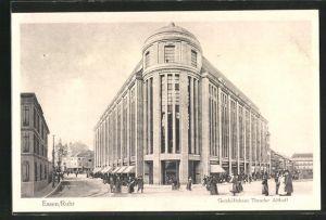 AK Essen / Ruhr, Geschäftshaus Theodor Althoff mit Passanten auf der Strasse