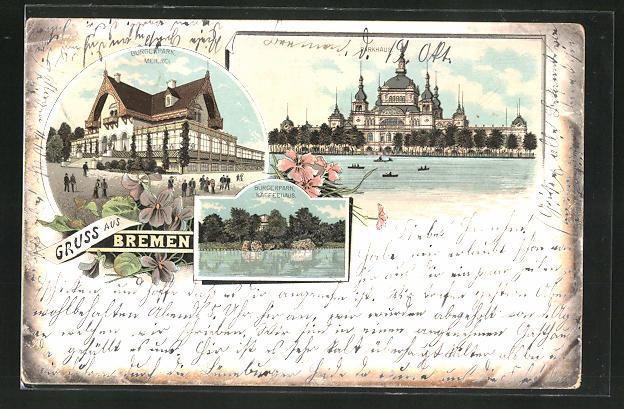 Lithographie Bremen, Parkhaus, Bprgerpark, Meierei, Bürgerpark, Kaffeehaus