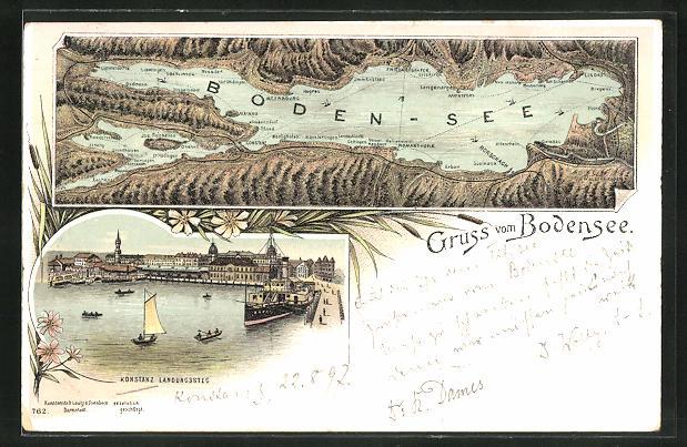 Lithographie Konstanz, Landungssteg, Bodensee mit umliegenden Ortschaften