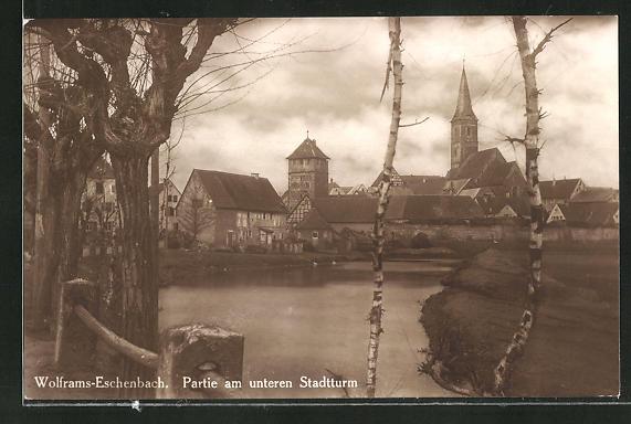 AK Wolframs-Eschenbach, Partie am unteren Stadtturm