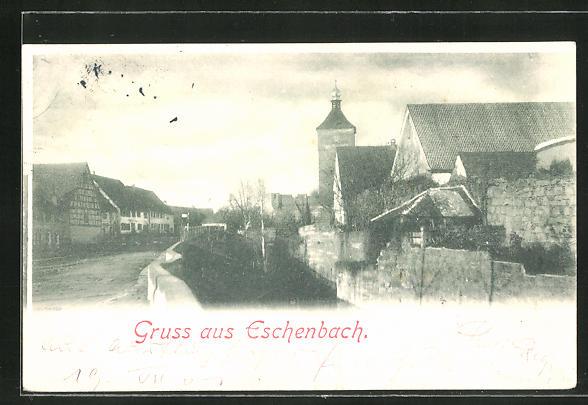 AK Eschenbach, Strassenpartie an der Stadtmauer