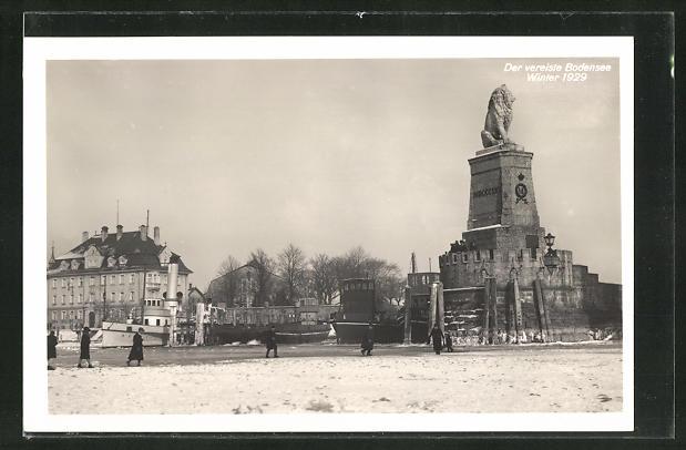 AK Lindau, der vereiste Bodensee im Winter 1929