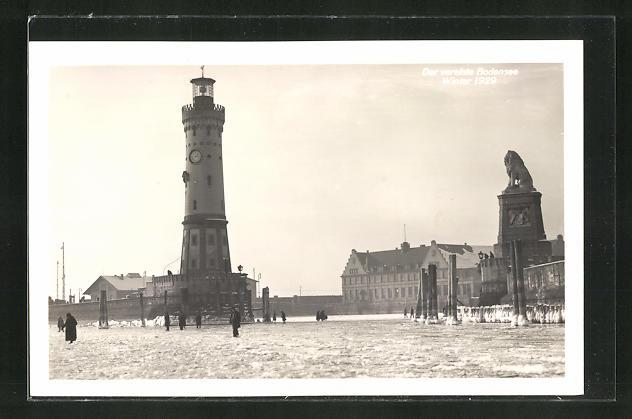 AK Lindau, der vereiste Bodensee im Winter 1929, Leuchtturm