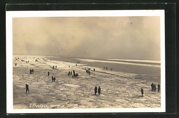 AK Lindau, Leute auf dem vereisten Bodensee