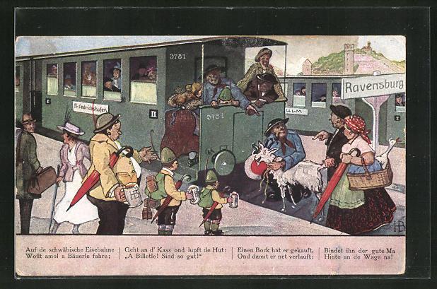 Künstler-AK Hans Boettcher: Ravensburg, Szene auf dem Bahnhof