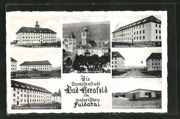 AK Bad Hersfeld, sechs Ansichten der Kaserne und Stiftsruine