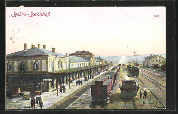 AK Bebra, der Bahnhof aus der Vogelschau