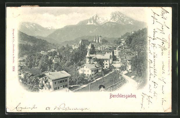 Relief-AK Berchtesgaden, Teilansicht aus der Vogelschau