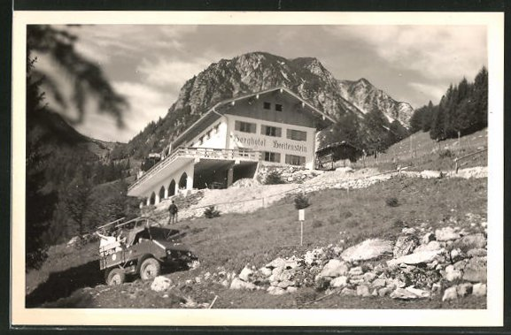 AK Ettenhausen, Berghotel Breitenstein mit einem Mercedes Unimog