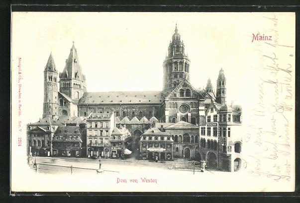 Relief-AK Mainz, Dom vom Westen