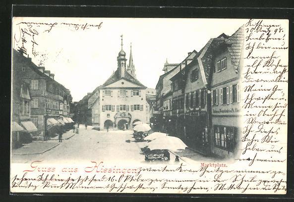AK Kissingen, Marktplatz mit Geschäften