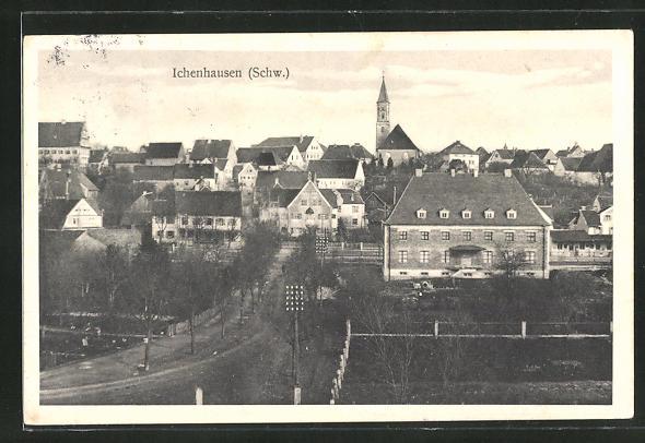 AK Ichenhausen, Gesamtansicht aus der Vogelschau