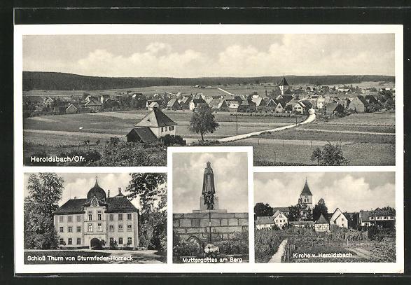 AK Heroldsbach, Ortsansicht, Schloss Thurn, Kirche, Muttergottes am Berg