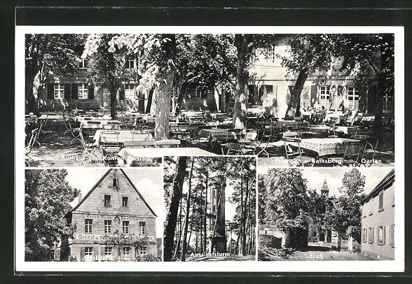AK Rathsberg, Gasthaus Eckstein, Aussichtsturm, Schloss
