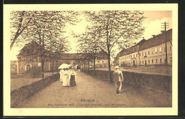 AK Ebrach, Marktplatz mit Gasthof Leicht und Forstamt
