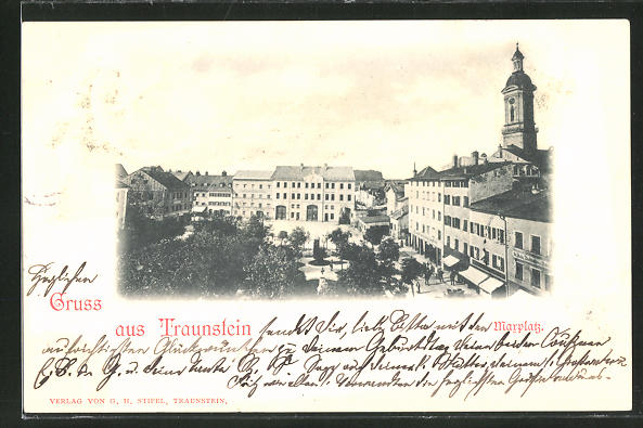 AK Traunstein, Marktplatz mit Geschäften aus der Vogelschau