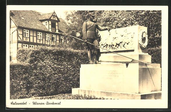 AK Salzwedel, Partie am Ulanen-Denkmal